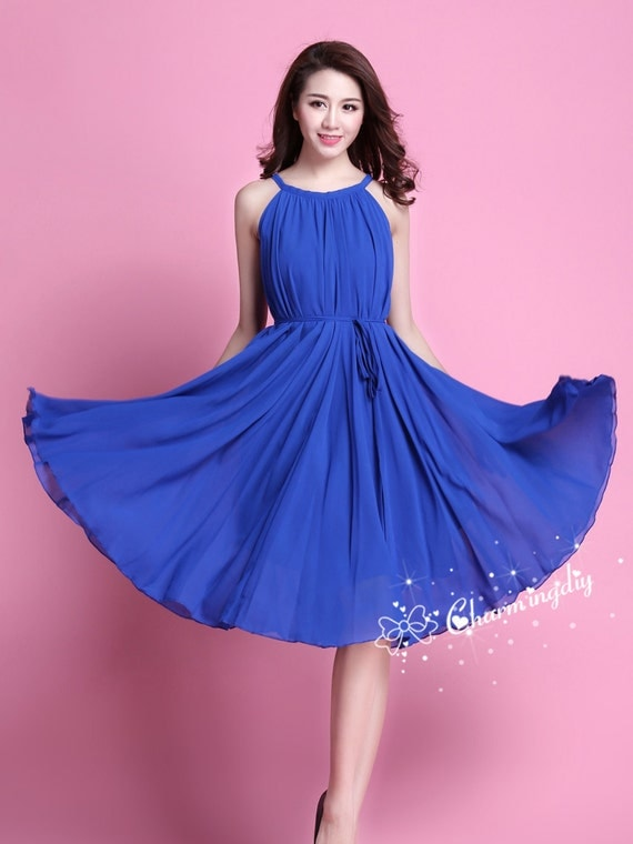 60 Colors Chiffon Blue Knee Skirt Party Dress Evening Wedding