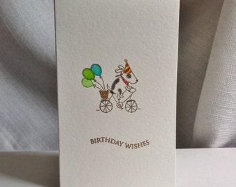 Handmade Birthday Card - Dog on a Bicycle