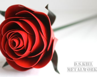 Stylized Metal Rose,  11th Anniversary, 6th Anniversary, 4th Anniversary, Metal Flower, Steel Rose, Steel, Forever Rose, Wedding Anniversary