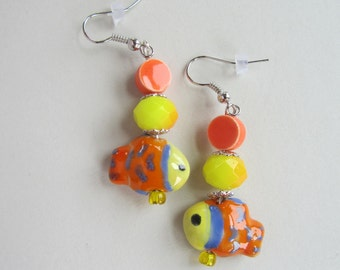 Fish Earrings, Ceramic Fish Earrings, Summer Fish Earrings, Yellow Earrings, Orange Earrings,Yellow Orange Fish Earrings, Womens Accessory