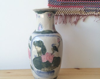tall ceramic vase hand painted floral chinese bohemian regency | pottery large china white pink flowers