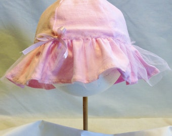 Infant Girl Ruffled Cotton Jersey Pink Sun Hat