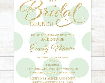 mint gold bridal brunch invitation, bridal luncheon invitation, brunch invitation, bridal shower invitation