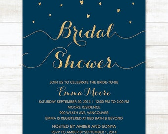 navy and gold hearts bridal shower invitation navy and gold glitter hearts printable modern chic shower digital invite customizable