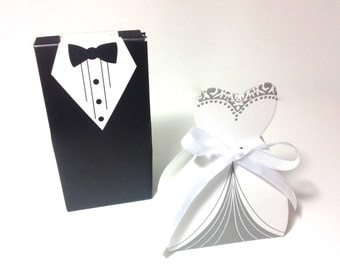 Set of  Bride and Groom Favor Boxes - 20 favor boxes total, candy boxes, Bride Groom Tuxedo Dress Bridal Wedding Favor Candy