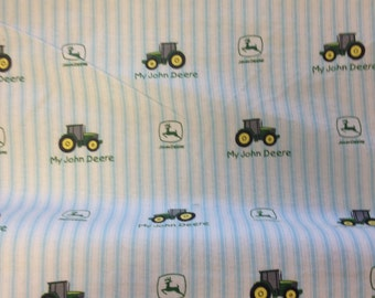 Flannel John Deere toddler ticking stripe in white background and blue stripe with tractors and  words My John Deere and logo