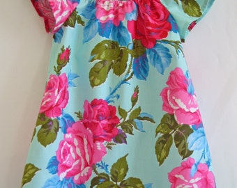 Girls dress, Roses, Turquoise, Floral, Girls clothing, peasant dress, gypsy dress, 100% cotton, girl, baby, toddler, size 3m to 10 years