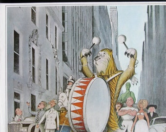 1965 Madison Avenue Advertising Characters on Parade - Cartoon Icons - Saturday Evening Post Cover - 1960s Kentile Vinyl Floors Ad