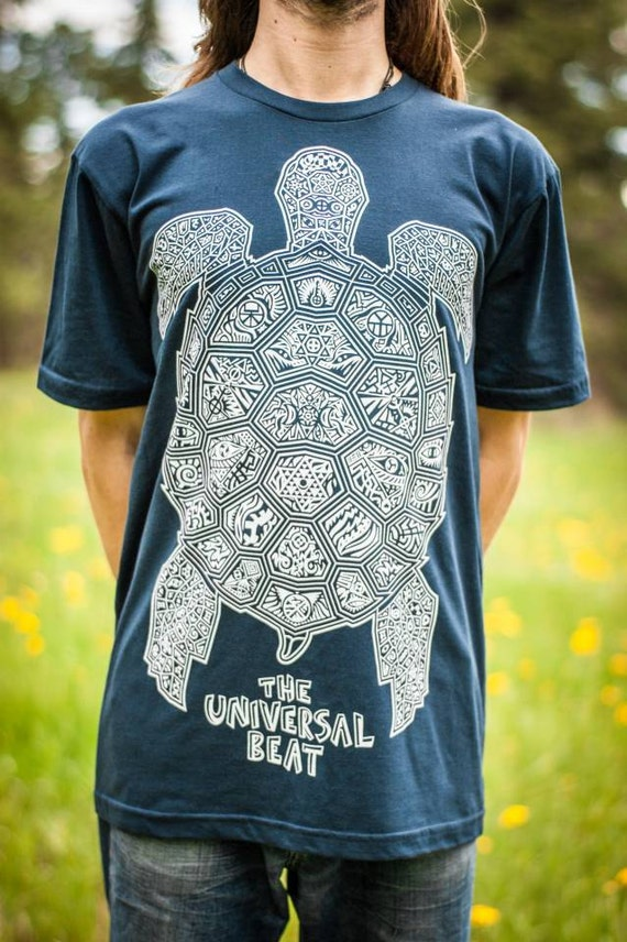 Sea Turtle T-Shirt—Organic USA Made, Ocean T-shirt, Water T-shirt, Psychedelic Turtle, Trippy Turtle, Sacred Geometry Art, Visionary, Mens