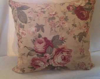 Cabbage Rose Floral and Stripe pillow Covers 20 x 20