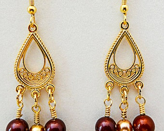 0734+ - BURGUNDY-GOLD EARRINGS, burgundy earrings, gold earrings, dangle earrings, dangle jewelry, earrings, faux pearls,  burgundy and gold