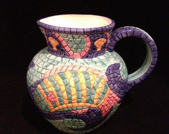 Hand Painted Mosaic Fish Pitcher by Clay Art