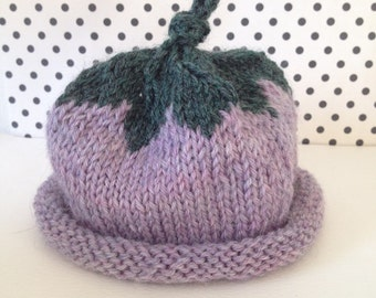 Handknit Berry Baby Hat - Size 0-3 Months - Baby girl hat