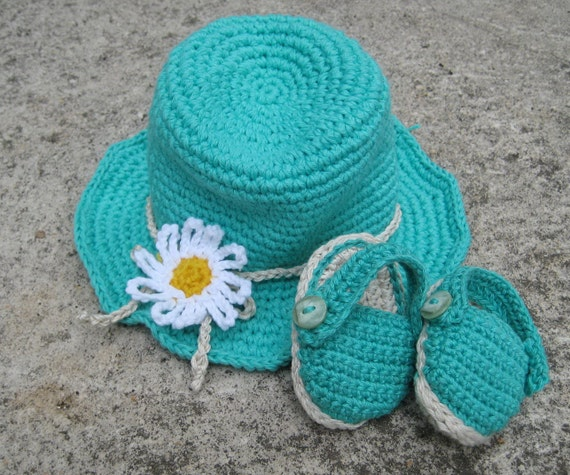 Crochet pattern baby sandals and hat Summer baby by Pletionica