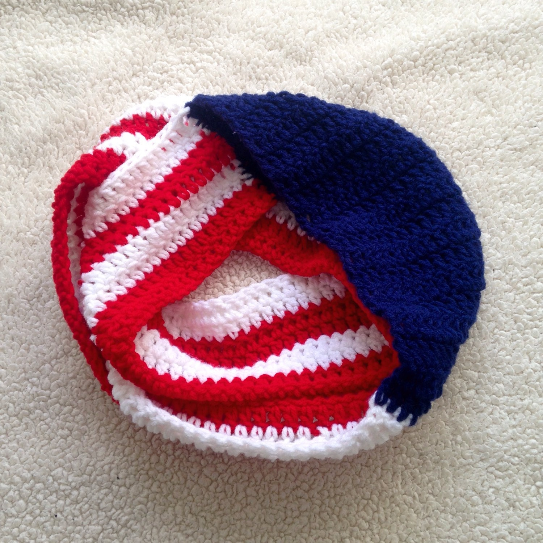 Crochet American Flag Scarf Pattern : American Flag Scarf // Crochet Infinity Scarf // Red White
