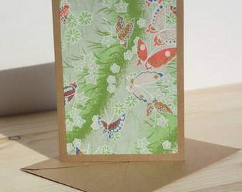 Green Butterfly Chiyogami Card