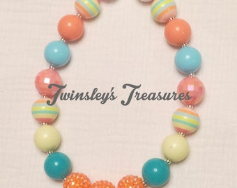 Pastel Chunky Beaded Bubblegum Necklace (yellow, teal, peach, blue)