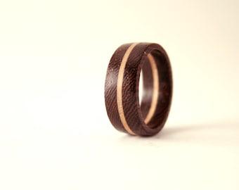 Natural Wenge Wooden ring - Wenge & Birch wood ring. Wooden ring. Natural ring.