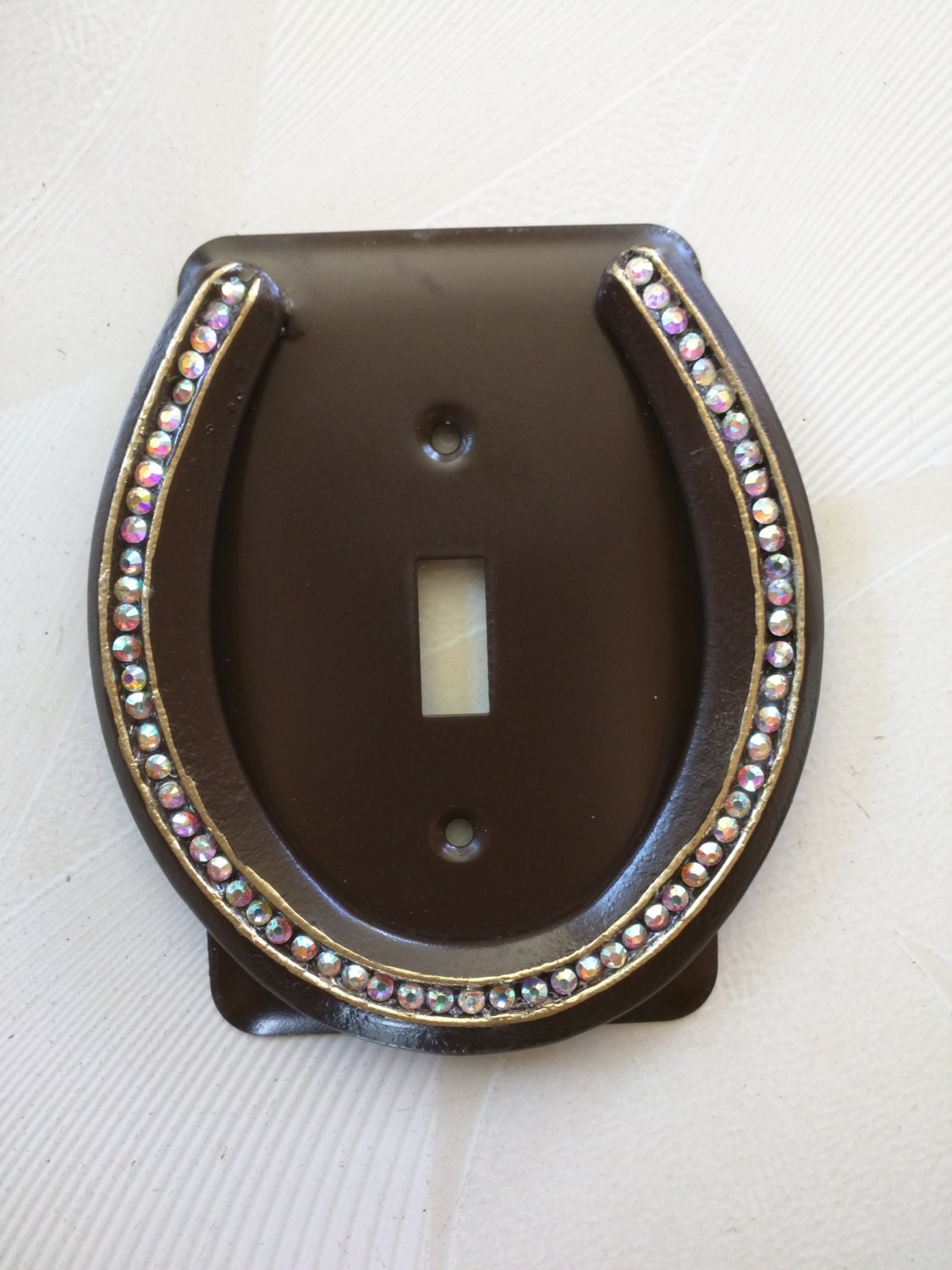 Metal Horseshoe Light Switch Cover Plate With Ab White Crystal
