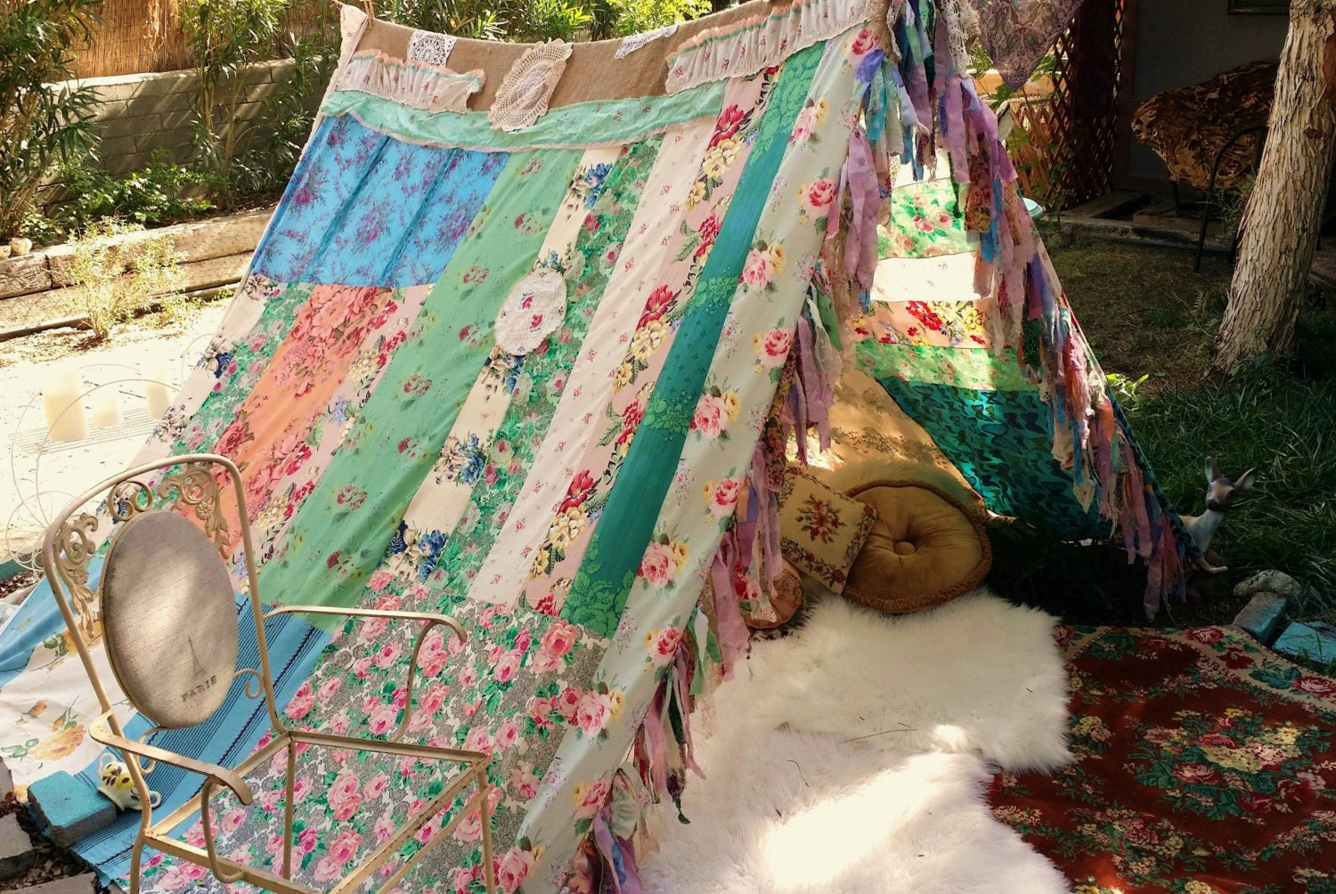 Gypsy shabby chic curtains -  Shabby Chic Gypsy Hippie Patchwork Bed Wedding Curtain Photo Prop Zoom