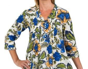 Cotton Tunic Top, Lulu - Floral Garden by Spirituelle