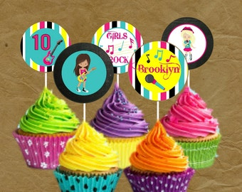 Rockstar Band Party Birthday Party Cupcake Toppers - Rock Star