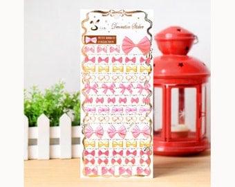 Ribbon Deco Stickers (1 Sheet) Korean Stationery Diary Stickers S0354