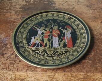 "Vintage Clay Greek Decorative Wall Plate Artemis Huntung Goddess Hunt Goat Floral 9.25"" Made In Greece Dinner Decorative Decor"