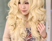 67cm light yellow . blonde long curly wave Lolita Punk cosplay wig with 2 clips Harajuku wig