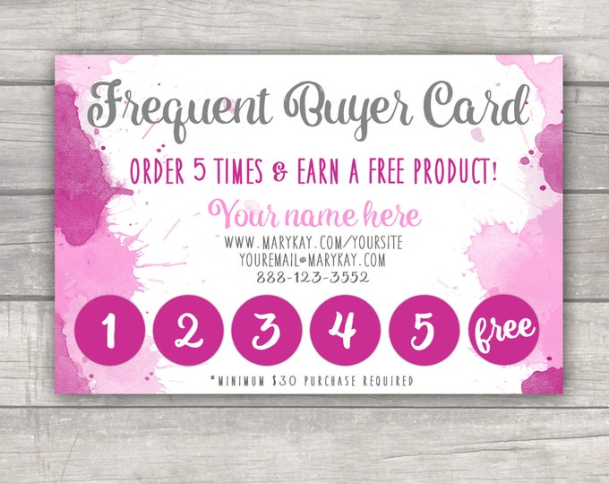 Frequent Buyer Punch Card - MaryKay LulaRoe Younique R&F Consultant Small Business - Watercolor Custom Printable PDF