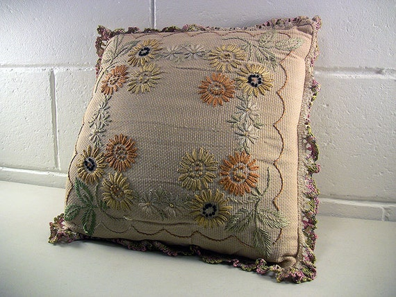 Vintage Throw Pillow Embroidered Pillow by EclectiquesBoutique