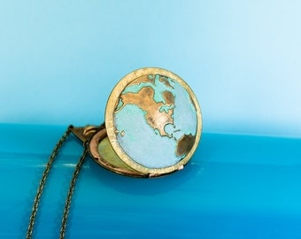 Globe Locket Necklace,World Map,Patina Locket,Verdigris,Locket Necklace,Secret Locket,World Traveler, Gift for Her