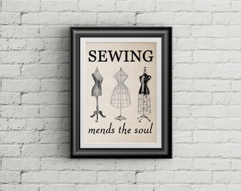 Sewing Room Decor Sewing Mends the Soul Wall Art PRINT Sewing Wall Art Sewing Room Decor