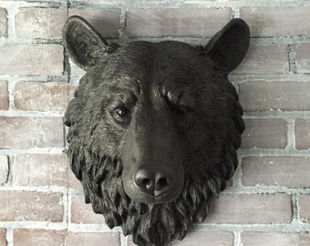 ANY COLOR or Faux BLACK Bear Head Wall Mount // Faux Taxidermy Wall Decor // Large Fake Animal Head // Wall Scupture //