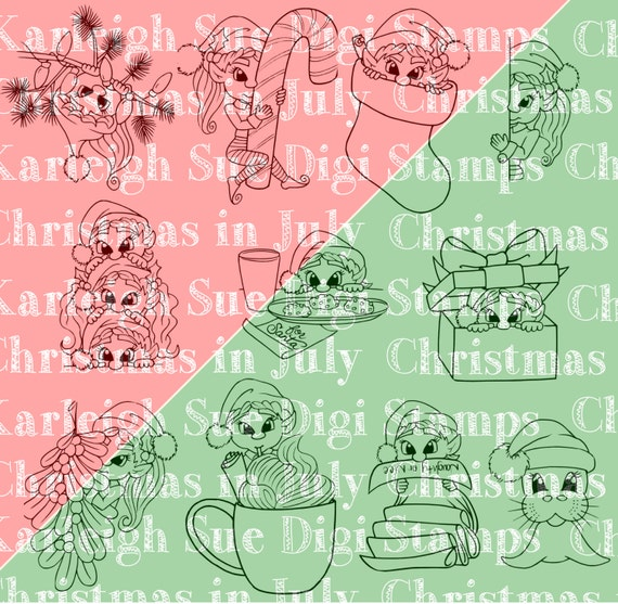 Christmas Elves Bundle: Digital Digi Instant Stamp Download by Karleigh Sue Digi's/ Cheri Shull