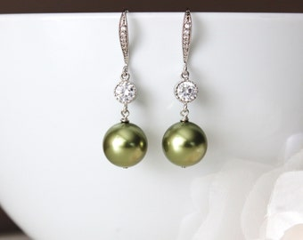Green Pearl Earrings Olive Green Earrings Green Wedding Jewelry Green Bridesmaid Earrings Greenery Wedding Bridesmaid Gift Ideas