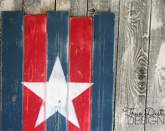 Rustic 4th of July Decor TDD14 ~ Red, White, Blue, Star, Independence Day, Summer, Patriotic, USA, Cottage, Cabin, True Destiny Designs