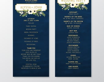 The ALYSSA . Program Cards Wedding Ceremony Mass Card . Gold & Navy Chalkboard Anemone Magnolia . 4 x 11 in Double sided Printed Heavy Cards