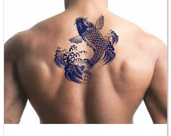 Temporary Tattoo Koi Japanese Fish Waterproof Fake Tattoo Thin Durable