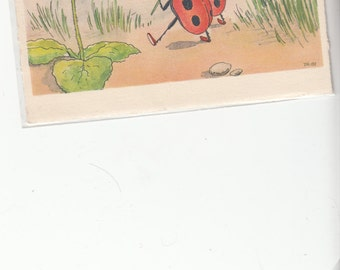 Two Ladybugs Fantasy Postcard Strolling With Four Leaf Clover Artist Postcard