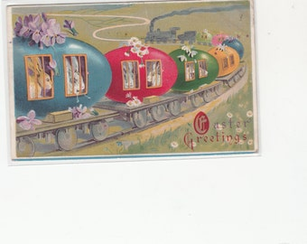 Easter Greeting Rabbits Riding In Colored Egg Train Cars-Eggs- 1914-Embossed-Antique Postcard
