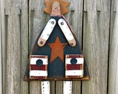 Primitive Old Glory Girl -  Patriotic Americana – Solid Wood – Handmade – Wall Hanging - Home Decor– FAAP, OFG, HAFAIR