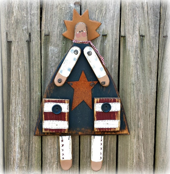 Americana Wall Decor Plaques Signs: Primitive Old Glory Girl Patriotic Americana Solid Wood