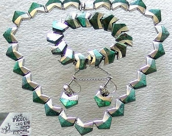 Vintage Mexican Ledesma 925 Sterling Silver and Malachite Modernist Necklace, Bracelet and Earrings Jewellery Set c1950's / 60's (ref: 2016)