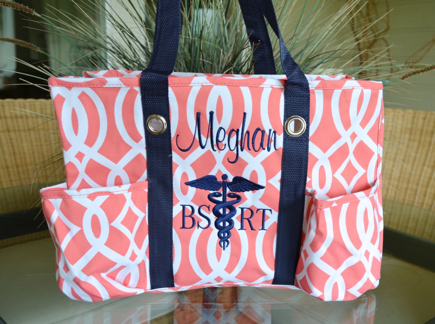Utility Tote Coral Vine With Navy Blue Straps Nurse S