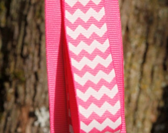 Pink Chevron Ribbon Headband Holder