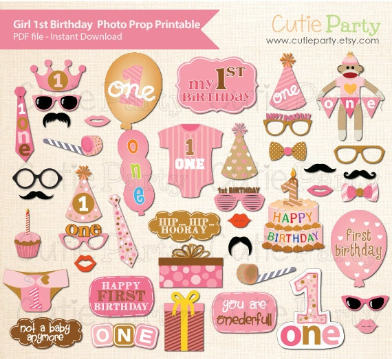 Girl 1st Birthday Party Photo Booth Prop 1st By Cutieparty