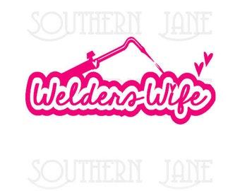 Cute Welders Wife Decal Sticker With Hearts