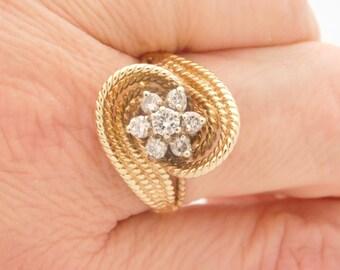1.00 Carat Total Weight Round Cut Diamond Cluster Flower Ring 14K Gold