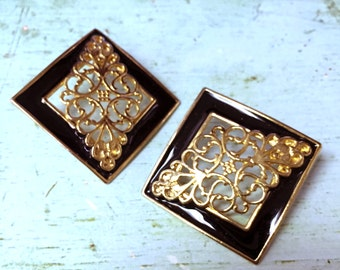 Vintage Black and Gold Earrings / Square Earrings / Free Domestic Shipping